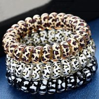 Leopard Elastic Headband For Girl Telephone Cord Ring Gum With Bow Tie Hair Scrunchy Ponytail Holder Circle