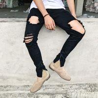 Men's Jeans Male Fashion Trousers Female American Stretch Ripped Slim Feet Zipper High Street Beggar Pants Pencil Men