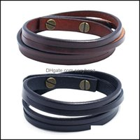 Cuff Bracelets Jewelryretro Simple Two Circles Mens Jewelry Fashion All-Match Punk Rock Leather Bracelet Drop Delivery 2021 Svjck