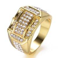 Хип-хоп Алмазные кластерные кольца Полное хрустальное Золотое Зломоженое кольцо для женщин Мужчины Мотоцикл Стиль Мода Ювелирные Изделия будут и Сэнди
