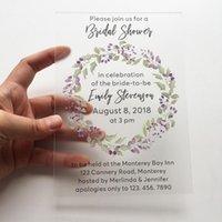 Wenskaarten 20 stuks per kavel Aangepaste purle krans aquarel stijl 5x7inch frosted acryl bruiloft bruids douche uitnodiging kaart