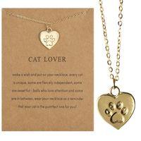 Kärlek Cat Paw Print Halsband Animal Cat Footprint Collarbone Chain