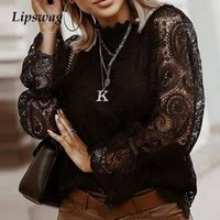 Women Sexy Embroidery Hollow Out Lace Blouse Shirt 2021 Autu...