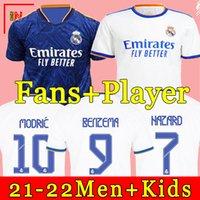 Real Madrid الفانيلة 21 22 كرة القدم قمصان كرة القدم Alaba Hazard Benzema Asensio Madric Marcelo Camiseta Men + Kids Kit 2021 2022 Onlys House