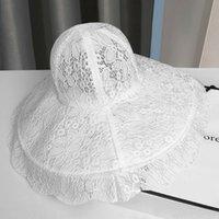 Verano solhat encaje hueco ancho ala top alrededor negro blanco elegante moda simple al aire libre playa sombreros sombreros