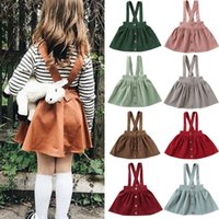 Baby Summer Clothing Toddler Kids Girls Party Strap Suspender Gown Solid Overalls Tutu Skirts Corduroy Outfits 1-6Y