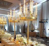 9 Cabeças Castiçais Candelabro Candelabra Candelabra Stands Centerpieces de Mesa de Casamento Vasos de Flores Decoração Do Partido de Chumbo