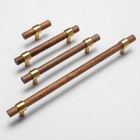 Handles & Pulls Nordic Style Combinant Of Brass And Black Walnut Wood Cupboard Door Pull Handle Color Adjustable Knob