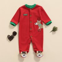 Rompers Christmas Baby Girl Boys Footed Romper Cute Deer Pattern Short Sleeve Jumpsuits Bodysuits Xmas Outfits