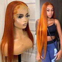 Braziliaanse gember oranje kant pruiken voor zwarte vrouw lange zachte natuurlijke rechte synthetische haar pruik hittebestendige cosplay / partij