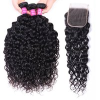 Brazilian Water Wave Hair Bundles Human Hair Extensions Remy Hair 3 Bundles with lace closure 4x4 High Quality wholesale