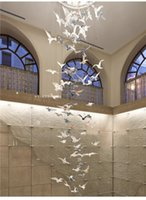 Bird Seagull Sales Office Sand Table El Lobby Duplex Staircase Mall Atrium Aerial Hanging Light Pendant Lamps