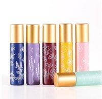 10ML Printing Roller Bottles Glass Travel Portable Perfume Essential Oil Bottle Mini Macaron Color Empty Bottling