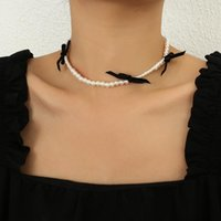 Chains AENSOA Elegant Imitation Simulated Pearl Choker Necklace Vintage Sweet Chain Black Bowknot Necklaces For Women Jewelry