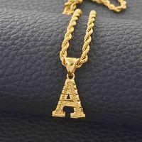 Yutong A-z letras colares mulheres homens cor ouro pingente de corda cadeia de corda inglês letra jóias alfabeto africano # 058002b