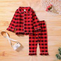 Clothing Sets Toddler Baby Girls Boys Clothes Square Collar Plaid Shirt +Pants Pajamas Kids Outfit Winter Girl Pyjamas Sleepwear