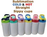 12oz Sublimação Reta Copo Sippy Crianças Garrafa de Água 350ml Em branco Portátil Portátil Aço Inoxidável Vácuo Isolado Beber Copo para Crianças 6 Cores