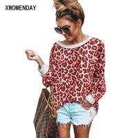 Camiseta para mujer Xwomenday mujeres otoño leopardo camisa casual manga larga o cuello superior camisetas sexy camiseta damas tops tee shirts blusas