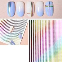 DIY Design Colorful Nail Stickers Self-adhesive Stripe Shape Mixed Patterns Transfer Decals Foils Art Decoration1