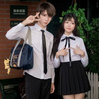 Clothing Sets 2021 School Girl Uniform Suit White Short Sleeve T-shirt Top Pleated Skirt Korean Girls Student Costume Set