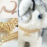 Diamante Gato Cão Collar Todo Temporada Ouro Pink Pets Chains Bonito Adorável Bone Pingente Coleiras para Chihuahua Bichon Teddy Alaska Bulldog 287 S2