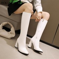 Boots Designer Women Round Toe High Heels Long Winter Knee-high Booties Side Zipper PU Leather Botas Female Size 34-43 White