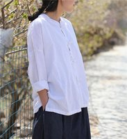 Women's Blouses & Shirts Women Retro Stand Collar Handmade Button Tops Ladies Solid Color Vintage Ramie Chinese Blouse Female Loose Shirt 20