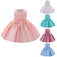 Girl's Dresses 6m-3y Kids Cute Girls Sleeveless Solid Ruffled Princess Bridesmaid Pageant Gown Birthday Party Wedding Tutu Dress