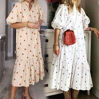 Casual Dresses QWEEK Summer Women's Dress 2021 White Polka Dot Print Midi Boho Puff Sleeve Ruffle Patchwork Party Loose Vestido