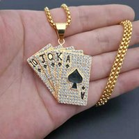 Hiphop Iced Out Playing Card Straight Flush Pendant With Stainless Steel Chain Men's Poker Necklace Golden Jewelry Dropshipping H0918