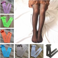 Hot Sell Kids Girls Designer Socks Tights Toddler Baby Colorful Rhinestone Pantyhose Fishnet Leggings Girl Children Mesh Stockings Hollow Out Fish Net & Hosiery