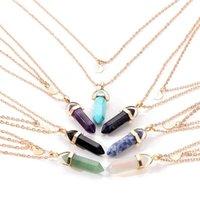 Pendant Necklaces Nacklace Women Jewelry Fashion Natural Stone Glass Six Corner Moon Choker Double-deck Crescent Wedding