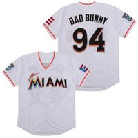 Maimi Maimi Bad Bunny Baseball Jersey White مع Puerto Rico Flag قميص كامل مخيط 09