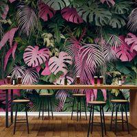 Wallpapers Bacaz Custom Mural Papel De Parede 3D Wallpaper Modern Color Tropical Rainforest Plant Leaves Living Room Background Wall Paper