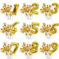 Party Decoration 7pcs lot 32-inch Aluminum Foil Numbers Balloons Big Golden Crowns Confetti Birthday Wedding Holiday Decorations