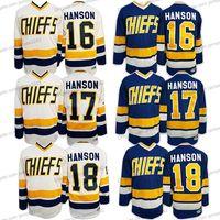 Envíe desde los Estados Unidos Charlestown Chiefs Slap Shot Hockey Jersey Hanson Brothers # 16 # 17 # 18 Dunlop # 7 Movie Men TODO Costada S-3XL Alta calidad