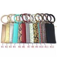 1y6n Wristbands Leather Bracelet JJ30 Chain Plaid Buffalo Wallet Round Keychain Pendant Wrist Clutch Tassel PU Leopard Style Bracelets Iqps