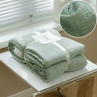 Couvertures estivale respirant mousseline mousseline gauze simple serviette de couleur solide pour adultes enfants maison canapé jet de lit couvre-lit