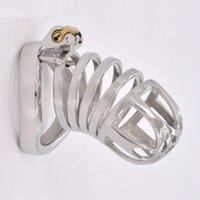 Metal Cock Cage Male Chastity Device Bondage Belt Steel Penis Rings BDSM Adult Sissy Naughty Sex Toys for Women Lock Sleeve