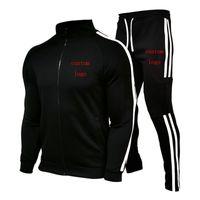 New Mens Primavera Autunno Casual Sport Suit Felpa Giacca con cerniera + Pantaloni Brand Brand di cotone di alta qualità Personalizzato
