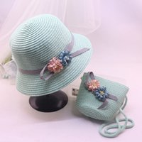 Caps Hats, Scarves & Gloves Fashion Aessories Baby Girl Hat Summer Beach Breathable Wide Brim Hats Bow Sunscreen St Flower Cap And B Jllklk