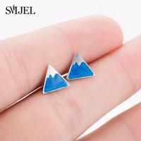 Creative Tiny Snow Mountain Earring Sliver Sky Blue Swimmel Stud Orecchini per le donne Gioielli Gifts Boucle D'Oreille