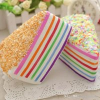 Decompression toy Rainbow fake cake decoration soft and broken fusion Kawai slow-rising food wedding photography mobile phone strap 14 cm pops