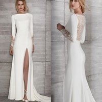 Simple White Satin Mermaid Wedding Dress Sexy Side High Split Illusion Back Beach Bridal Gowns Lace Long Sleeves Court Train Formal Bride Reception Dresses 2022