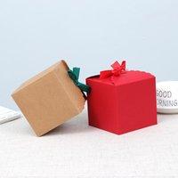 Kraft papel casamento caixa de doces 20 pcs 11 * 11 * 11cm marrom quadrado caixas de papelão caixas de festa presentes de presente de embalagem para convidados wrap