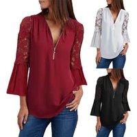 Women's T-Shirt Lace Sleeve T-shirts Zipper V-neck Slim Oversized Fashion Casual Long Top Camisetas De Mujer