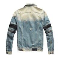 도착 겨울 디자이너 패션 자켓 망 데님 코트 캐주얼 오토바이 바이커 청바지 슬림 크기 M-4XL