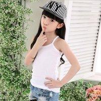 Детские девочки хлопчатобумажные топы белые конфеты цветные камизолы без рукавов нижнее белье для Chid Baby Girl 90 160