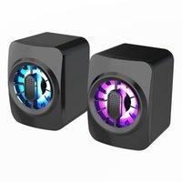 Computer Speakers Multimedia Desktop USB Power Supply 3.5mm Wired Subwoofer RGB Dazzling Light Mini Speaker Webcams
