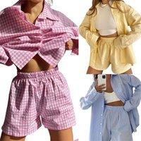 Women's Tracksuits Hirigin 2021 Casual 2 Pieces Suit Set Female Striped  Plaid Turn-Down Collar Long Sleeve Shirt+ Short Pants For Autumn